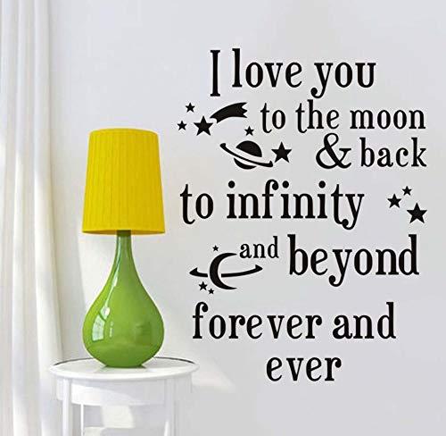 ch Liebe Dich Bis Zum Mond Und Zurück Zitate Wandaufkleber Romantische Liebe Sprüche Selbstklebende Tapete Für Baby Room Home Decor58X77Cm ()