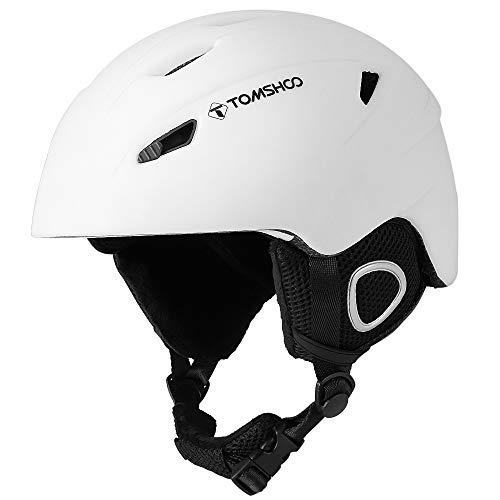 TOMSHOO Ski Casque de Snowboard Casque de sécurité certifié Casque de Ski Professionnel Snow Casque de Sport Amovible Masque intégré Lunettes intégrées (Blanc, L)