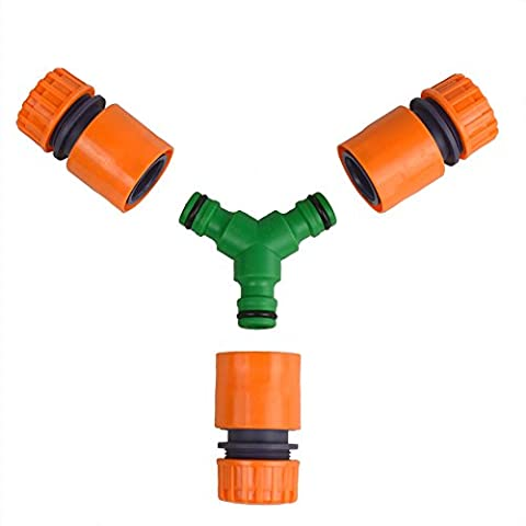 Universal 3 Way Y Shaped Tube Plastic Connector, With 3 Garden Hose Quick Connector Starters