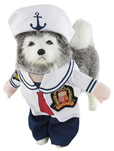 Mombebe Hunde Dogs Halloween Cosplay Kostüm Kleidung Sets Weihnachten mit Hut (L, Matrose) - Nautische Weihnachten