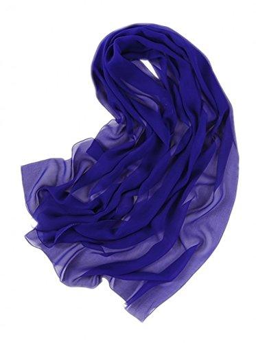 Prettystern - 180 cm lunga stola sciarpa foulard tinta unita leggera pura seta crepe georgette - blu reale