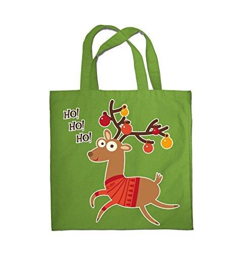 Colour Fashion Weihnachten Ho!Ho!Ho! Rentier Einkauf Fitness Strand Tragetasche 0078 Erbsengrün