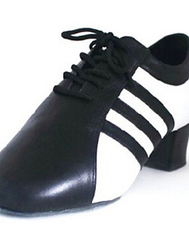 ShangYi Chaussures de danse(Noir) -Personnalisables-Talon Bottier-Cuir-Latine / Jazz / Baskets de Danse / Claquettes / Moderne black and white