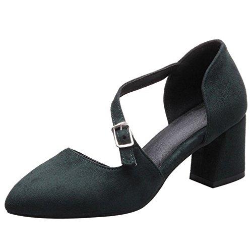 COOLCEPT Damen Mode Slip On Sandalen Blockabsatz Geschlossene Schuhe Gr Grun