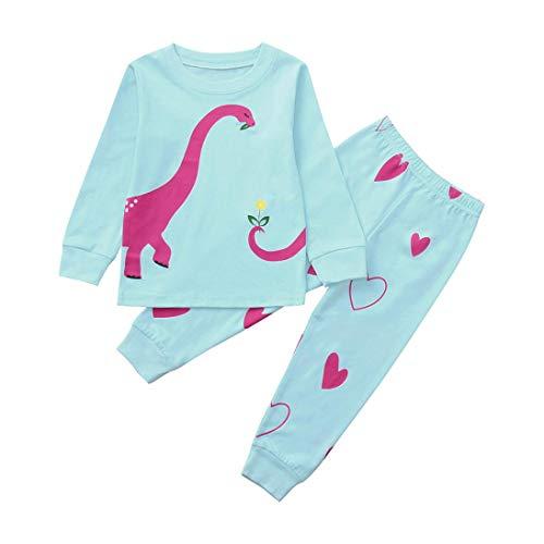 (Zarupeng Kleinkind Kinder Baby Zweiteiliger Cartoon Dinosaurier Langarm Schlafanzug Shirt Top + Hosen Mädchen Kleidung Outfit Set)