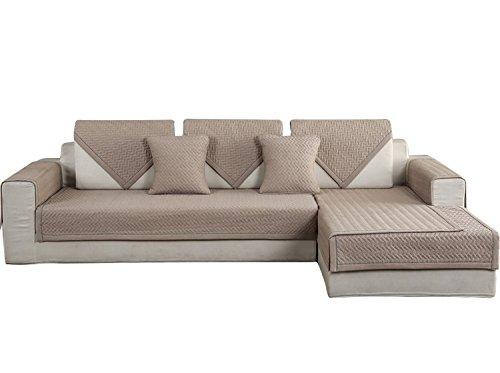 Hotniu copridivano trapuntato 1-pezzo cotone universale copri per sedia divano protector mobili copertura per penisola (chaise longue) sia a destra che sinistra, 90 * 210 cm, cachi