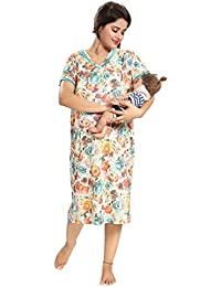 163d4e4b18 TUCUTE Women s Hosiery Short Feeding Nursing Maternity Nighty Nightwear Nightdress  with Floral