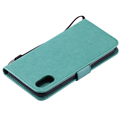 Custodia iPhone X, iPhone X Cover Wallet, SainCat Custodia in Pelle Flip Cover per iPhone X, Ultra Sottile Anti-Scratch Book Style Custodia Morbida Cover Protettiva Caso PU Leather Custodia Libretto A Verde