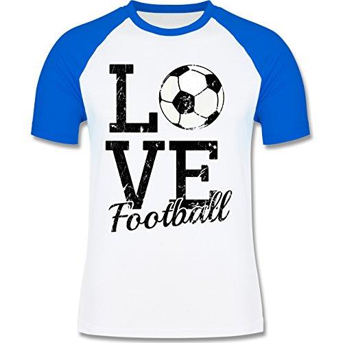 Fußball - Love Football - zweifarbiges Baseballshirt für Männer Weiß/Royalblau