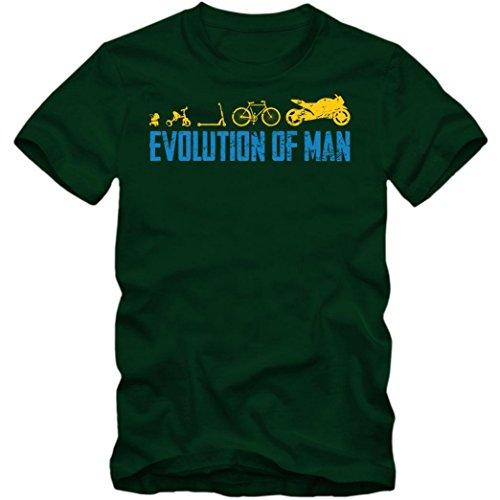 Evolution Motorrad T-Shirt Motorsport Motorcross Zwei Räder Kawasaki Harley Herren Shirt, Farbe:Dunkelgrün (Bottle Green L190);Größe:XXL
