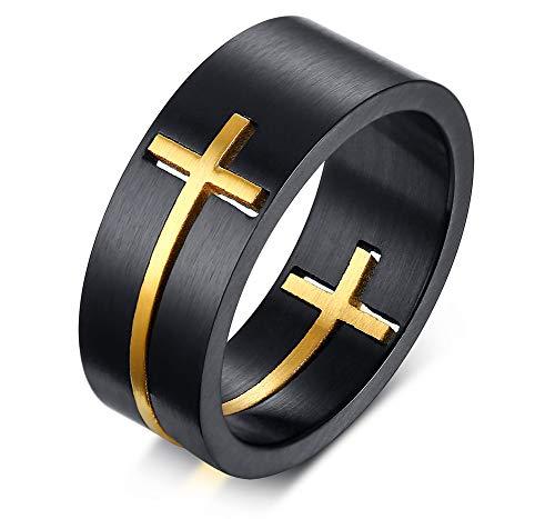 XUANPAI Edelstahl Zwei-Ton Abnehmbare Gold Kreuz Band Ring Gebetsring Geschenk Für Männer, Größe 59 (Männer Gold Ringe Jesus)