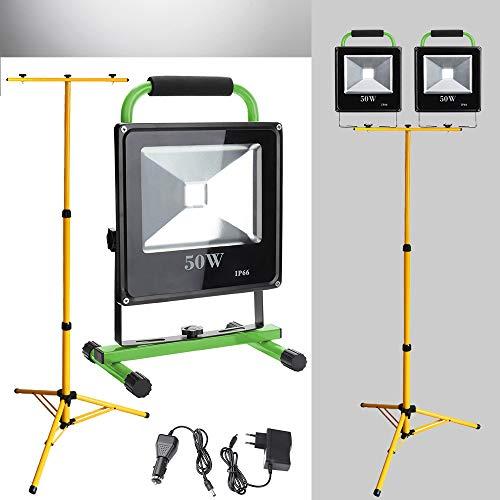 Hengda 2*LED Fluter 50W Kaltweiß Akku Strahler Mit Teleskop-Stativ Arbeitsscheinwerfer Werkstattlampen Handlampe