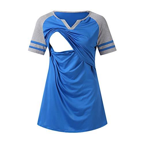 Frauen Umstandsmode Layered Unregelmäßige Pflege Shirt Stillshirt Kurzarm Zum Stillen Heligen Mutterschaft Womens Nursing Stripe Kurze Ärmel Rundhals Stillbluse -