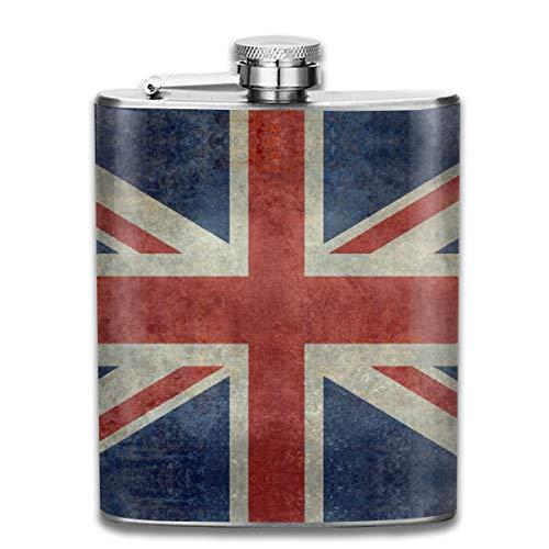 Flachmann, Englands Union Jack-Version Nationalflagge des Vereinigten Königreichs, Vintage, Retro-Version Edelstahl, ca. 200 ml -