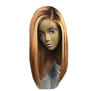 YHXQM Remy Human Hair Lace Front Wig Brazilian Hair Straight Blonde Wig 130% Density with Baby Hair Ombre Hair Dark Roots Blonde Two Tone Women' s Short Human Hair Lace Wig Aili Young