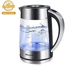 Hervidor de Agua Eléctrico Cristal 2200W 1.7 Litros,Temperatura Regurable Indicador Temperadura Actual Libre de