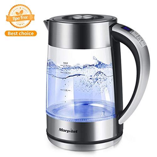 Wasserkocher morpilot 2200 Watt Wasserkocher mit Temperatureinstellung,1,7 Liter Blaue LED Beleuchtung,aus Edelstahl und Glas BPA Frei 360 Grad Kabellos Station (MT11)
