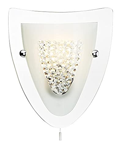 Mirrored Shield Wall Light Fitting with Crystal Glass Beads and White Pull Switch by Haysom Interiors