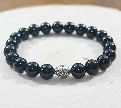 Bracelet Femme Agate Noire Argent 925 Pierre Naturelle