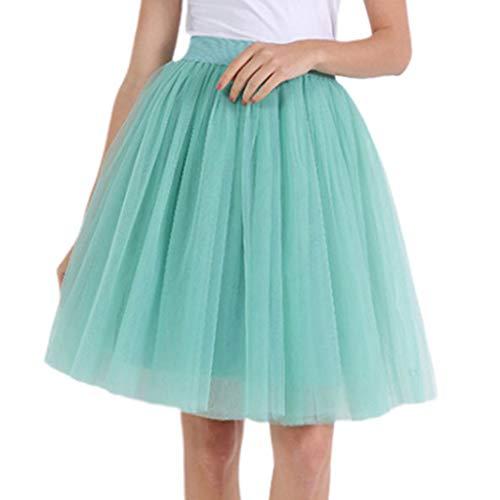 Kostüm Dance Women's Tap - goneryisour Damen Tutu Rock - 5 Schichten hohe Taille Plissiert A-Linie Ballett Dance Mesh Midi Kostüm Kleid lang einfarbig Gr. One Size, lichtgrün