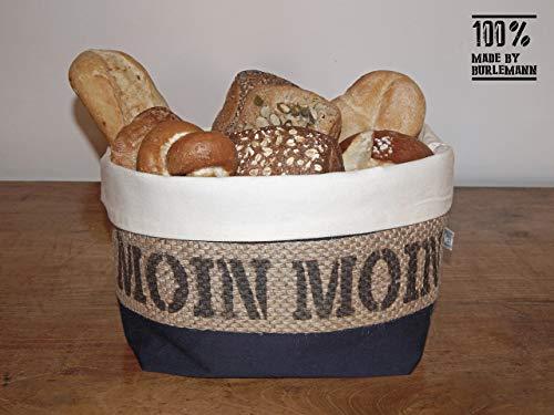 Brotkorb/Brötchenkorb Moin Moin aus Kaffeesack für 5-6 Brötchen -