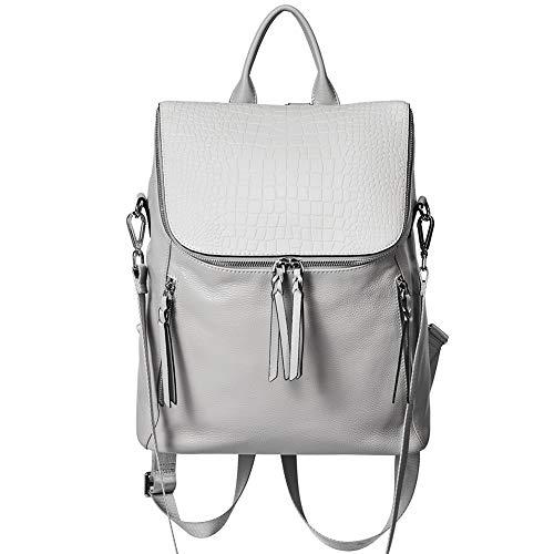 CLUCI Echtes Leder Rucksack Damen mit Krokodil Klappe Große Umhängetasche Mode Schultertasche für Fraun 2 in 1 grau -