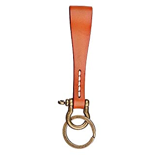 Leather KeyChain Leather Key Ring, Cowhide Smooth Soft Classic Key Chain Fob for Man and Women By Agemore (Light brown)