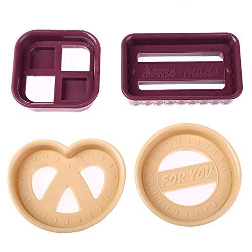 ShengshiZZ Kostengünstige 4-teilige Kunststoff-Ausstechformen-Set, Klassische Fondant-Kuchenform, Keks-Ausstechformen, Werkzeug für Heimdekoration - Picture Color