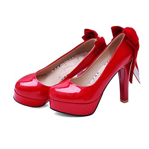 YE Damen Blockabsatz High Heels Plateau Lack Leder Pumps mit Schleife Rund Geschlossen Glitzer Elegant Party Schuhe Rot