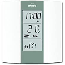 Aube TH136 - Termostato programable, color crema y gris