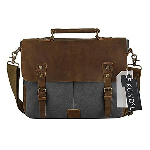 Canvas Leather Satchel, P.KU.VDSL Vintage Messenger Shoulder Tote Bag Briefcase fits 14 inch Laptop