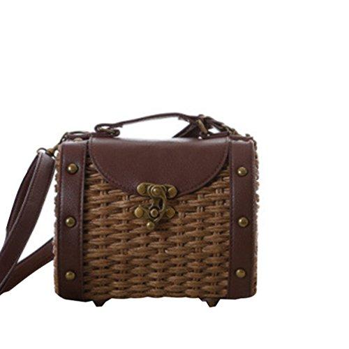 YOUJIA Damen Vintage Stroh Stricken Boho Schultertaschen Umhängetaschen Pu-Leder Handtaschen Braun