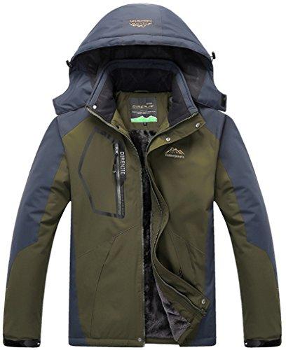 Sawadikaa Herren Winter Outdoorjacke wasserdicht Wandern Fleece Übergröße Skijacke Regenjacke Sportbekleidung Armeegrün Herstellergröße XL, UK X-Small
