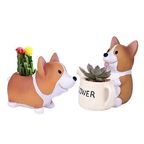 Pflanztopf von Wituse, Blumentopf mit niedlichen Tier-Motiven aus natürlichem Harz, Ornament, Blumentopf, Corgi NO.1+NO.2, Größe (Bauch-unterseite B)