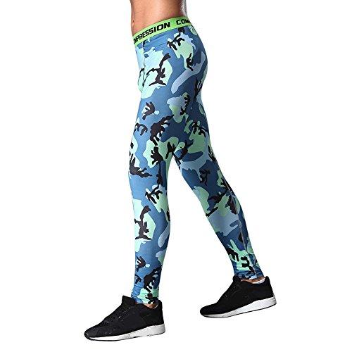 Topgrowth Pantaloni Mimetici Uomo Sport Palestra Esercizio collant Casuele Fitness Elastico Leggings Blu