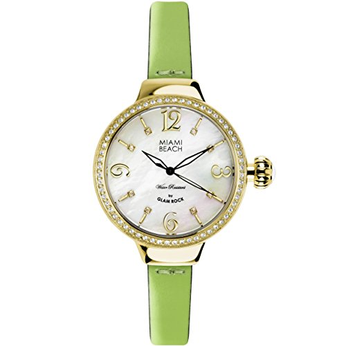 GLAM ROCK Miami Beach Art Deco Femme 36MM Quartz Montre MBD27199A