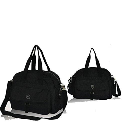 Kangming Multifunktions Baby Wickeltaschen Set isoliert Thermo Tote Mama Handtasche mit Unterlage und Flaschenhalter schwarz