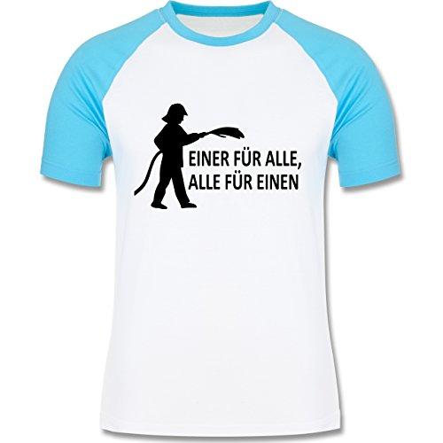 Feuerwehr - Einer für alle, alle für einen - zweifarbiges Baseballshirt für Männer Weiß/Türkis