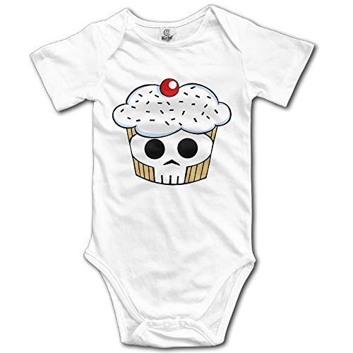 TKMSH Skull Cupcaks Boy's & Girl's Short Sleeve Baby Climbing Clothes White White Skulls Snap