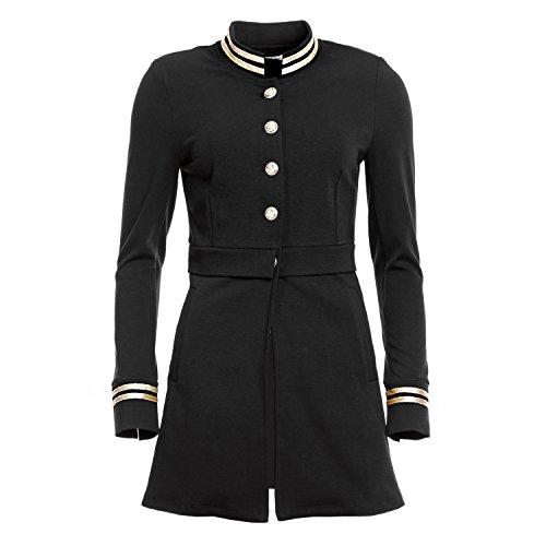 Mayaadi Damen Long Blazer eleganter Admirals Mantel im Marine-Look J-9669 Schwarz XL (Armee Kadett Kostüme)