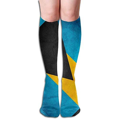 No ambiguous120 Retro Style Bahamian Honourable Flag Women's Fashion Knee High Socks Casual Socks