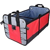 Vovoly Car Tronco Organizador Plegable y resistente antideslizante impermeable Compartimentos múltiples portátiles almacenamiento de carga para SUV, camión, auto, vehículo y almacenamiento en el hogar (rojo)