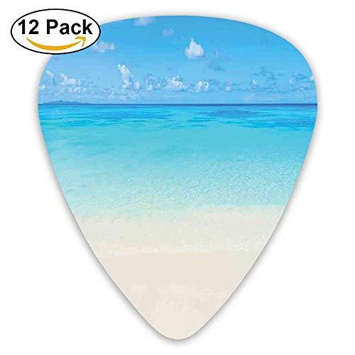 Paradise Beach In Tropical Caribbean Sea With Fantastic Sky View Calm Beach House Theme Decorative Guitar Picks 12/Pack