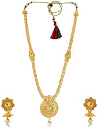Anuradha Art Golden Finish Simple & Very Classy Look This Traditional Long Necklace Set For Women/Girls