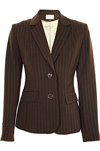 Busy Clothing Womens Brown Stripe Suit Jacket – Size 14