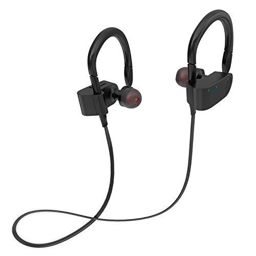 Bluetooth Kopfhörer In Ear Halsband Sport Ohrhörer,EAKAI spritzwasserfest für Joggen, Workout, Fitness, Headphones mit Mikrofon für iPhone, Android, MP3 & Weitere (FT1, Schwarz)