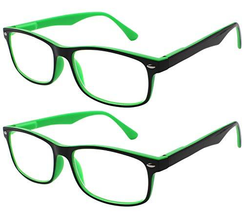 TBOC Gafas de Lectura Presbicia Vista Cansada - (Pack 2 Unidades) Graduadas +2.00 Dioptrías Montura de Pasta Bicolor Verde y Negra de Diseño Moda para Hombre y Mujer Unisex con Lentes de Aumento para Leer y Ver de Cerca Patillas con Bisagras de Resorte
