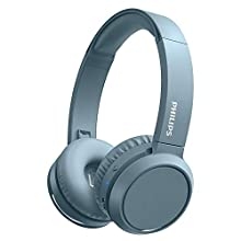 Philips On-Ear Headphones H4205BL/00 with Bass Boost Button (Bluetooth, 29 Hours' Playback Time, Quick Charging Feature, Noise Isolating, Flat Folding), Matte Blue – 2020/2021 Model