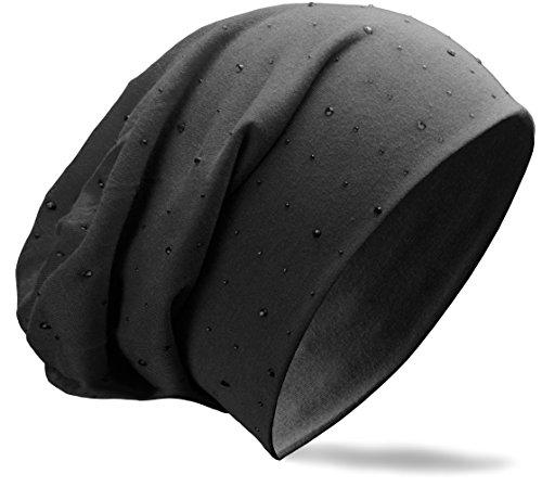 NavyBlu® Klassische Slouch lang Beanie Mütze mit ton in ton Strass Nieten Applikation schwarz M61-2 Ton-ski Knit Beanie Cap