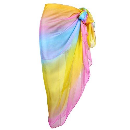 CHIC DIARY Damen Frauen elegant Sarong Pareo Strandtuch Bikini Wickelrock Wickeltuch farbig geblümt gedruckt Strand Schal Halstuch (Bunt Regenbogen(1), 195cmx135cm)